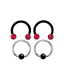 16 Gauge Black Pink Hoop Horseshoe 4 Pack