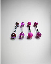Pink Swirl Barbell 4 Pack - 14 Gauge