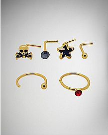 Captive, Twist, Hoop Nose Ring 6 Pack- 20 Gauge