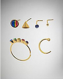 Multi Rainbow Seamless Nose Ring 6 Pack- 20 Gauge