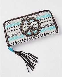 Peace Sign Tribal Zippered Wallet