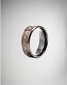 Black and Red Carbon Fiber Ring