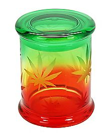 14 oz Rasta Pot Leaf Storage Jar