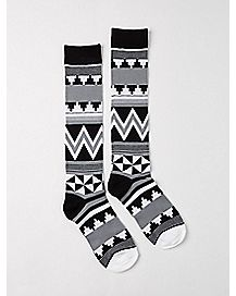 Tribal Print Knee High Socks