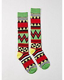 Tribal Print Rasta Knee High Socks