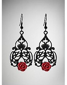 Black Filigree Red Rose Dangle Earrings