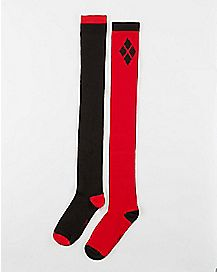 Harley Quinn Over the Knee Socks Red and Black