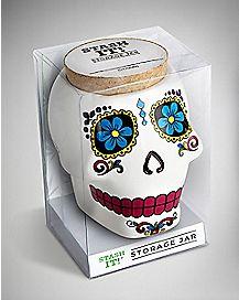 Sugar Skull Stash Jar - 12 oz Ceramic