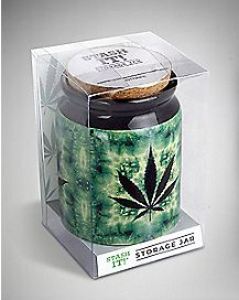 Tie Dye Leaf Storage Jar - 12 oz Green
