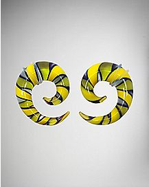 Yellow and Black Spiral Stretcher Taper 2 Pack