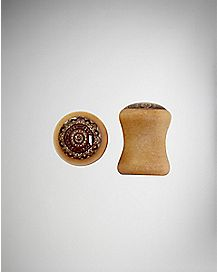 Organic Henna Flower Wood Plug 2 Pack