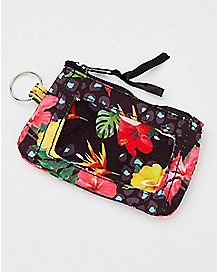 Black and Floral Badge ID Holder