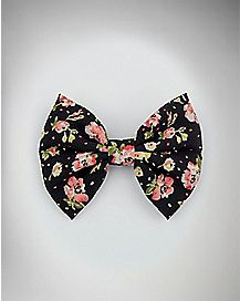 Black and Pink Floral Hair Bow