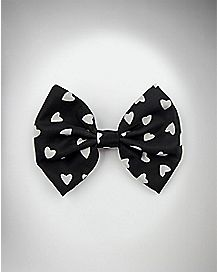 Black with White Hearts Hair Bow