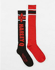 Athletic Stripe Harley Quinn Knee High Socks