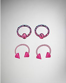 16 Gauge Pink Captive Ring and Horseshoe 4 Pack