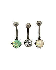Opal-Effect CZ Belly Ring 3 Pack - 14 Gauge