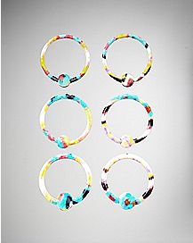 Multicolored Circular Captive Ring 6 Pack