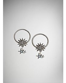 14 Gauge Sun Moon and Stars Captive Hoop 2 Pack