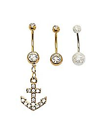 Cz Anchor Dangle Belly Ring 3 Pack - 14 Gauge