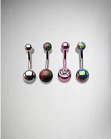 Colored Cz Metallic Belly Ring 4 Pack - 14 Gauge