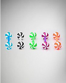 Colored Swirl Barbell 5 Pack - 14 Gauge