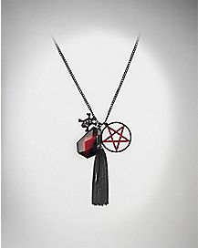 Pentagram Tassel Cluster Necklace