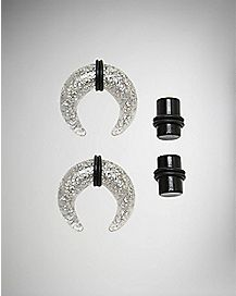 Black Plugs and Glitter Pinchers - 2 Pair
