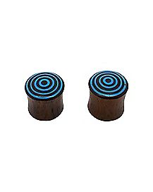 Organic Wood Turquoise-Effect Swirl Tunnel Plug 2 Pack