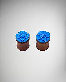 Organic Wood Blue Flower Tunnel Plug 2 Pack