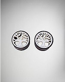 Organic Wood White Shell Tree Tunnel Plug 2 Pack
