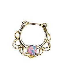 Opal-Effect Clicker Septum Ring - 16 Gauge