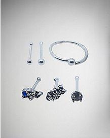 Animal & Hoop Nose Ring 6 Pack- 20 Gauge