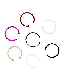 20 Gauge Colored Hoop Nose Ring 7 Pack