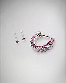 Clicker Septum & Nose Ring 3 Pack - 16 Gauge
