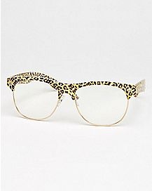 Leopard Top Square Glasses