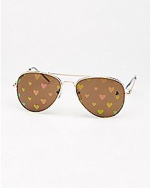 Heart Print Lens Aviator Sunglasses