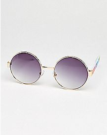 Rainbow Striped Round Sunglasses