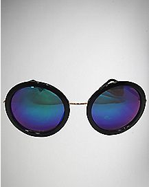 Round Frame Sunglasses - Black