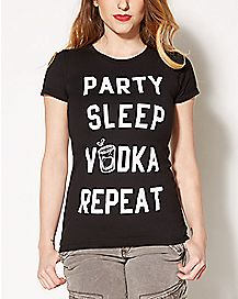Party Sleep Vodka Repeat T shirt