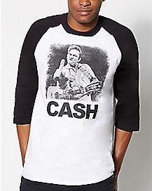 Middle Finger Johnny Cash Raglan T shirt