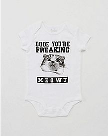 Dude You're Freaking Meowt White Baby Bodysuit