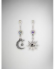 Moon & Sun BFF Belly Ring 2 Pack - 14 Gauge