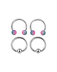 16 Gauge Pink Cz Horseshoe Ring 4 Pack