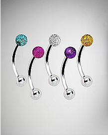 Glitter Curved Barbell 5 Pack - 16 Gauge