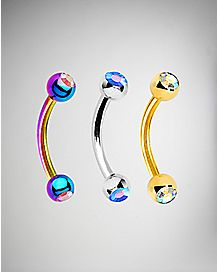 16 Gauge Rainbow Cz Curved Eyebrow Ring 3 Pack