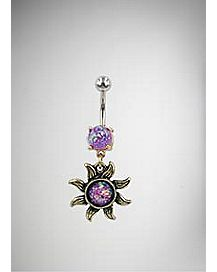 Purple Cz Sun Dangle Belly Ring - 14 Gauge