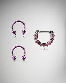 16 Gauge Pink Horseshoe Clicker Septum Ring 3 Pack