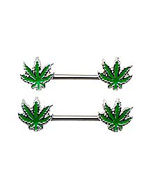 Pot Leaf Nipple Ring Barbell 2 Pack - 14 Gauge