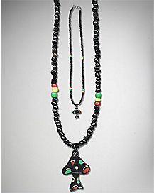 Rasta Beaded Mushroom Necklace